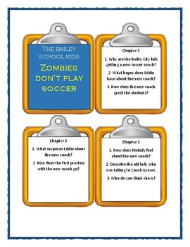 Bailey School Kids ZOMBIES DON'T PLAY SOCCER - Discussion Cards