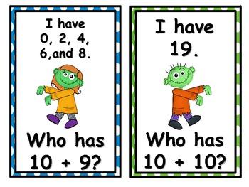 Zombies I Have, Who Has? 2nd Grade Common Core 2.OA.2, 2.OA.3, 2.NBT.8