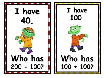 Zombies I Have, Who Has? 2nd Grade Common Core 2.OA.2, 2.OA.3, 2.NBT.8