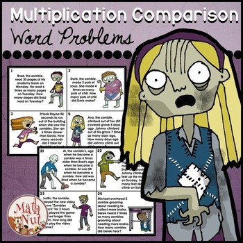 "Multiplication Comparison ""Word Problems"" (Halloween Math) Zombie Theme"