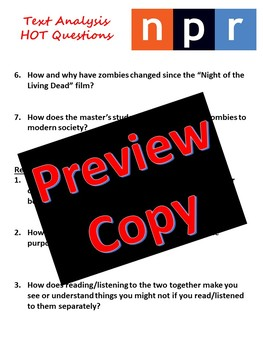 Zombies Podcast - Listening Comprehension, Text Analysis, Evidence Elaboration
