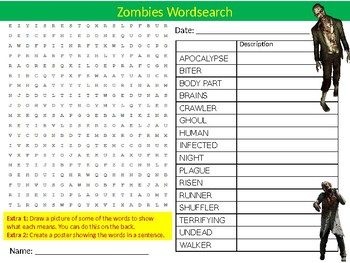 Zombies Wordsearch Puzzle Sheet Keywords Activity Halloween Monsters
