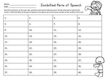 Zombie -fied Parts of Speech Task Cards (Nouns, Verbs, Adj., Adv.)