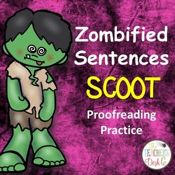 Zombified Sentences SCOOT Proofreading Practice (Cute Zombie Theme)