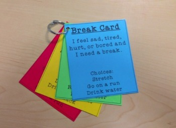 Self Regulation Break Cards