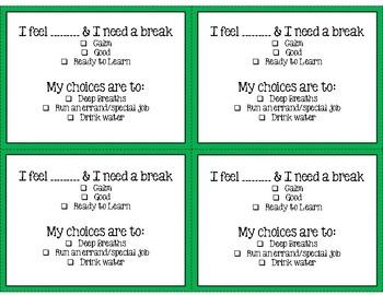 Zones of Regulation Break Cards