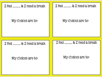 Zones of Regulation Break Cards