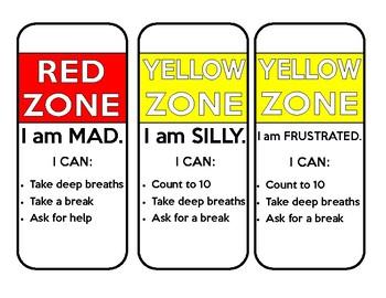 Zones of Regulation Calm Down Strategies for Readers