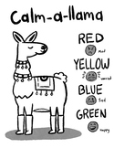 Zones of Regulation Calm-a-Lama Coloring Page