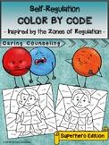 Zones of Regulation Color By Code - Emotional Regulation Activity (Superheros)