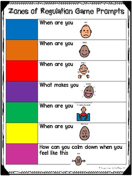 Zones of Regulation Color Game Activity