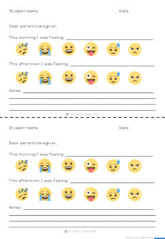 Self Regulation Tools: Student check in reflection + Parent communication note