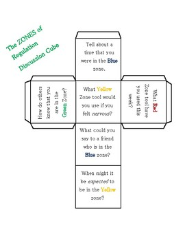 Zones of Regulation Discussion Cube Foldable