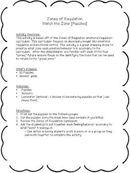 Zones of Regulation - Match the Zone [Puzzles]