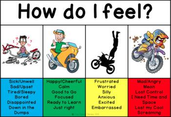 Self Regulation Tools: Motorbike Feelings/Emotion pack