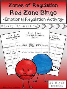 Zones of Regulation - Red Zone Bingo - Emotional Regulation Activity