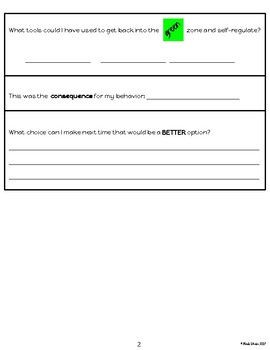 Zones of Regulation Reflection Sheet