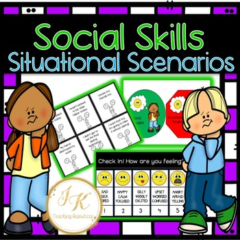 Zones of Regulation-Social Skills Situational Scenarios PLUS Check In!