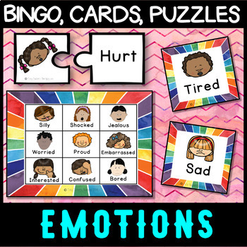 Self Regulation Tools: Emotion Game Bundle - Bingo(lotto), Charades, puzzles etc