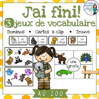 Zoo:  3 Zoo Themed Vocabulary Games in French