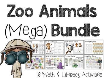 Zoo Animals Mega Bundle: A Safari of Math & Literacy Centers