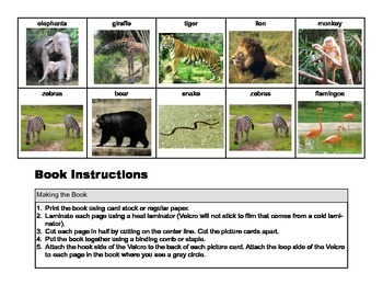 Zoo ANIMAL Matching Adapted Velcro Book, SPEECH THERAPY, Autism, Vocabulary