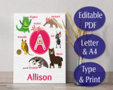 Zoo Alphabet - Editable PDF Files A to Z - 26 x 2 Files