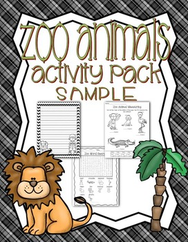 Zoo Animal Activity Pack Math Literacy Games Puzzle SAMPLE