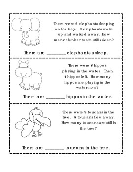 zoo animal addition subtraction word problems for kindergarten. Black Bedroom Furniture Sets. Home Design Ideas