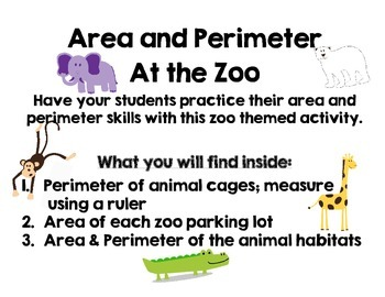 Zoo Animal Area and Perimeter Packet
