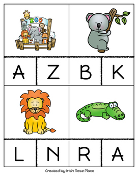Zoo Animal Beginning Sound Cards