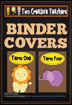 Binder Folder Covers Zoo Animals Style