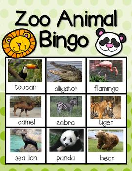 Zoo Animal Bingo--A Game for Your PK-1 Class