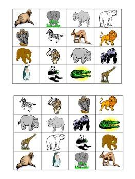 Zoo Animal Bingo Boards set of 32