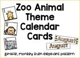 Zoo Animal Calendar Day Cards