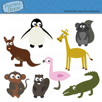 Zoo Animal Clip Art Alligator Monkey Penguin Kangaroo Giraffe Flamingo
