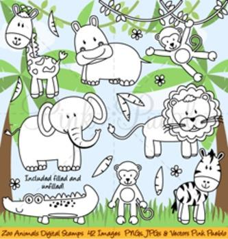 Zoo Animal Clip Art, Zoo Animal Clipart, Zoo Animal Digital Stamps