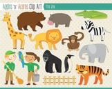 Zoo Animal Clip Art - color and outlines