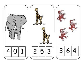 Zoo Animal Clothespin Math Center