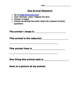 Zoo Animal Computer Research Worksheet