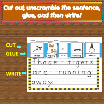 Zoo Animal Cut and Write Word/Picture Sentences!