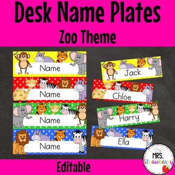 Zoo Animal Desk Name Plates | Labels **Editable**