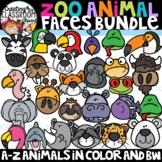 Zoo Animal Faces Clipart Bundle {Animals A-Z Clipart}