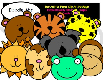 Zoo Animal Faces Clipart Pack