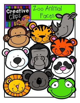 Zoo Animal Faces {Creative Clips Digital Clipart}