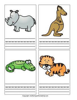Zoo Animal Flashcards and Corresponding Coloring Pages