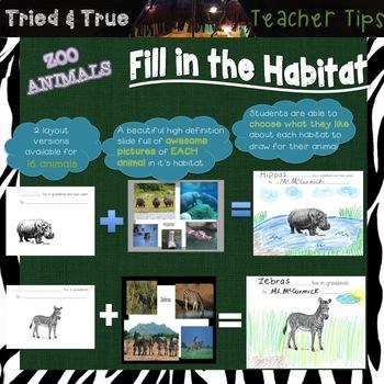 Zoo Animal Lesson-Fill in the Habitat!
