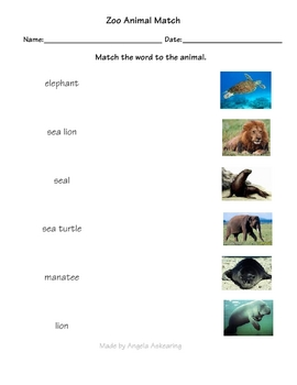 Zoo Animal Match Worksheets