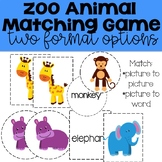 Zoo Animal Matching Game: Toddlers-3rd Grade
