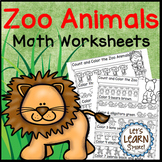 Zoo Animal Math Worksheets, End of the Year, (Distance Learning)